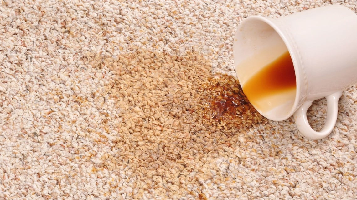 Carpet stained with coffee